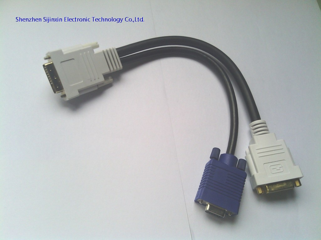 High resolution DVI to VGA+DVI Y splitter cable